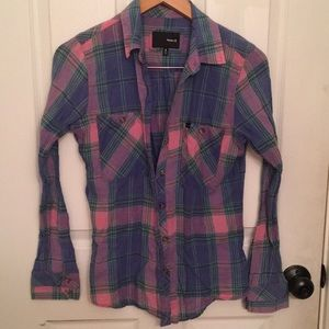 Hurley plaid long sleeve button down small